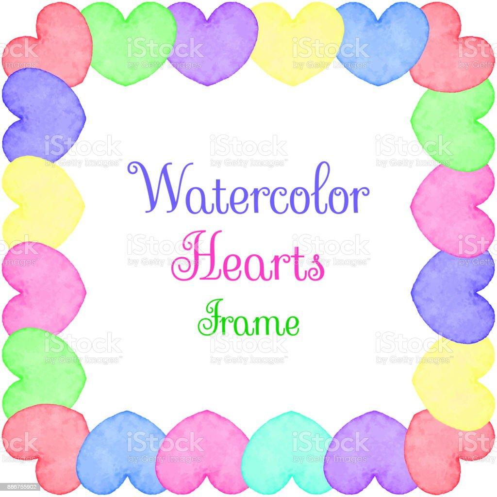 Hearts frame vector art illustration
