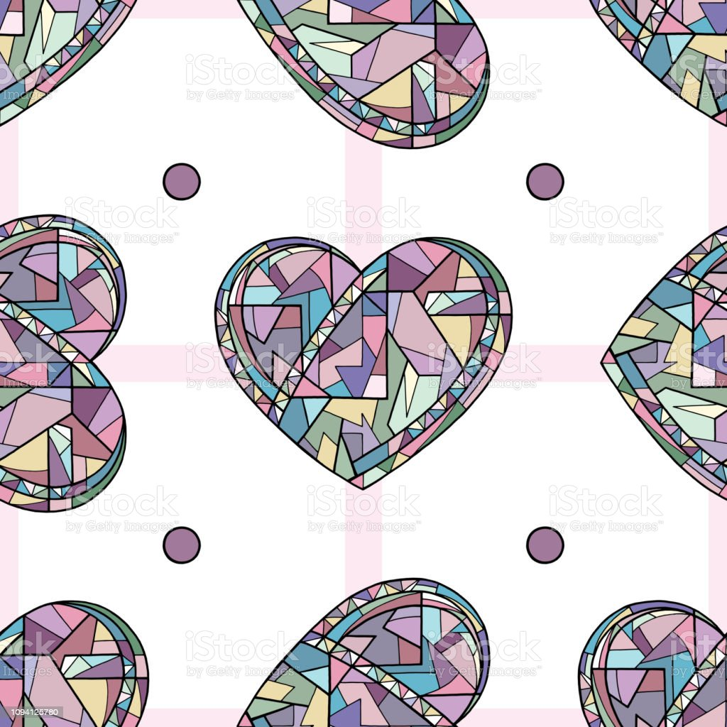 Hearts Hand Drawn Vector Seamless Pattern Valentines Day