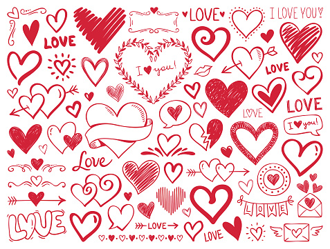 Hearts. Hand-drawn design elements