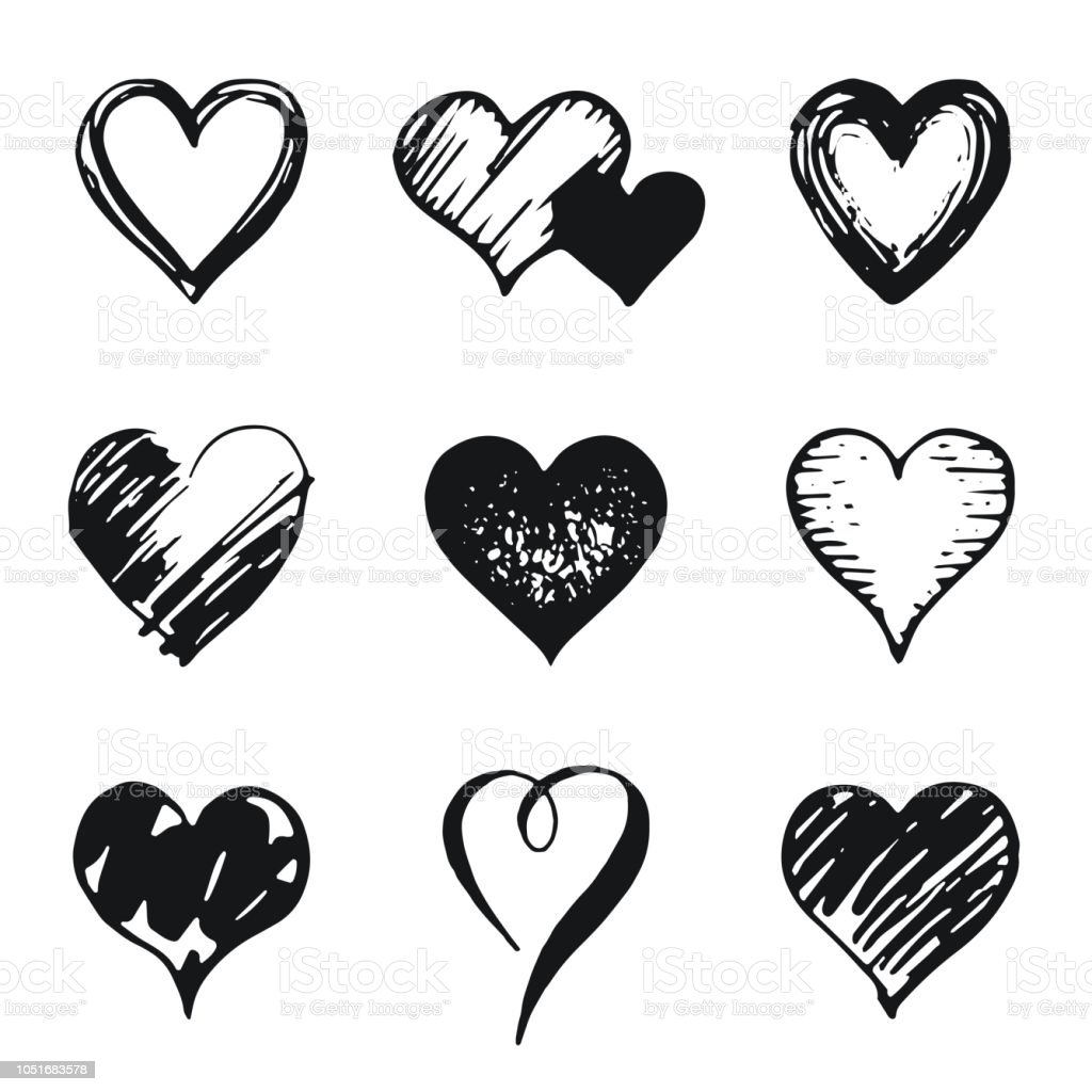 Kalp Simgesi Ayarla Elle çizilmiş Doodle Kroki Tarzı Anahat Ve şekil