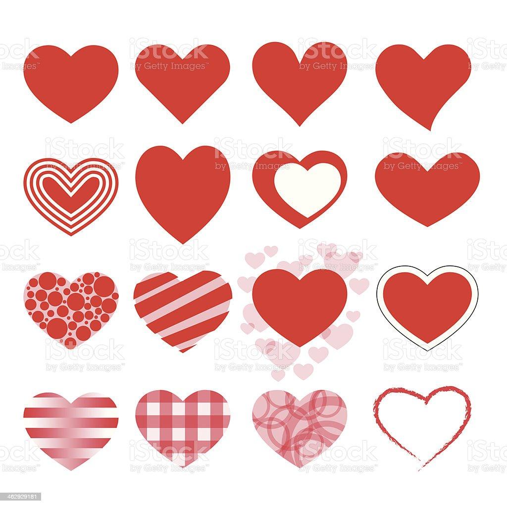 Hearts icon set vector art illustration