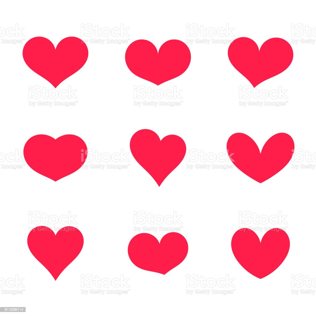 Hearts icons collection vector art illustration