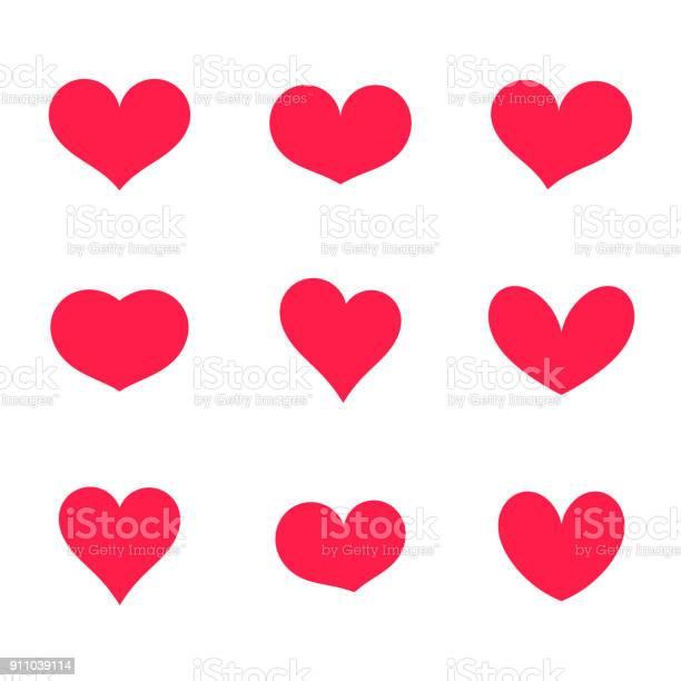 Hearts Icons Collection - Arte vetorial de stock e mais imagens de Abstrato
