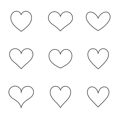 Hearts icons line