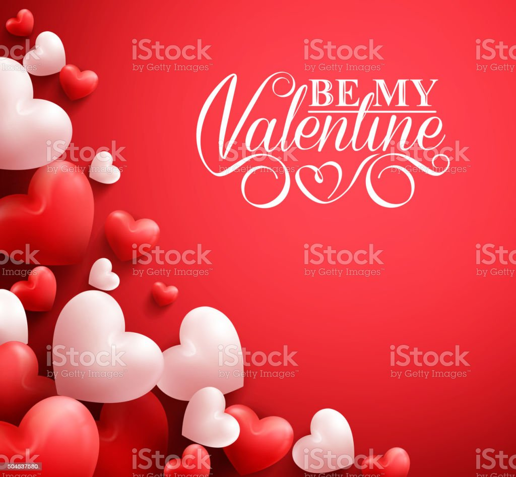 Hearts in Red Background with Happy Valentines Day Greetings vector art illustration