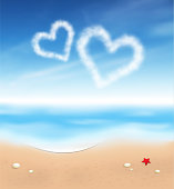 Hearts in the sky and the beach
