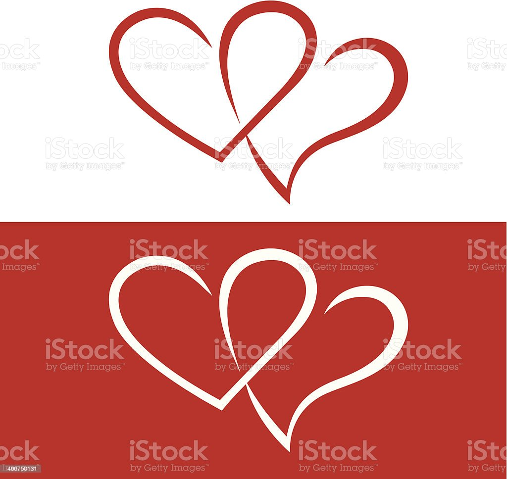 Hearts intertwined (Vector) - Illustration royalty-free stock vector art