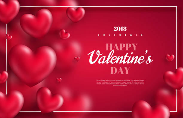hearts on red background with thin frame Pink Valentine's Day background with 3d hearts on red. Vector illustration. Cute love banner or greeting card valentine card stock illustrations