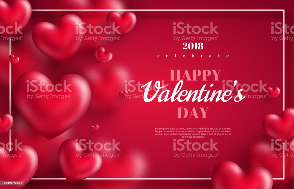 hearts on red background with thin frame vector art illustration
