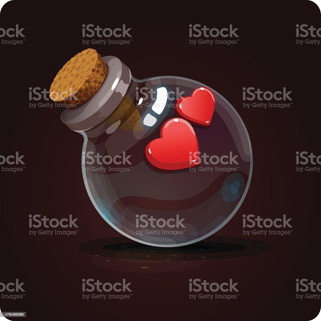 hearts on the bottle vector art illustration