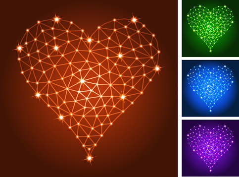 Hearts on triangular nodes connection structure vector art