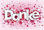 Hearts Pink Background Danke