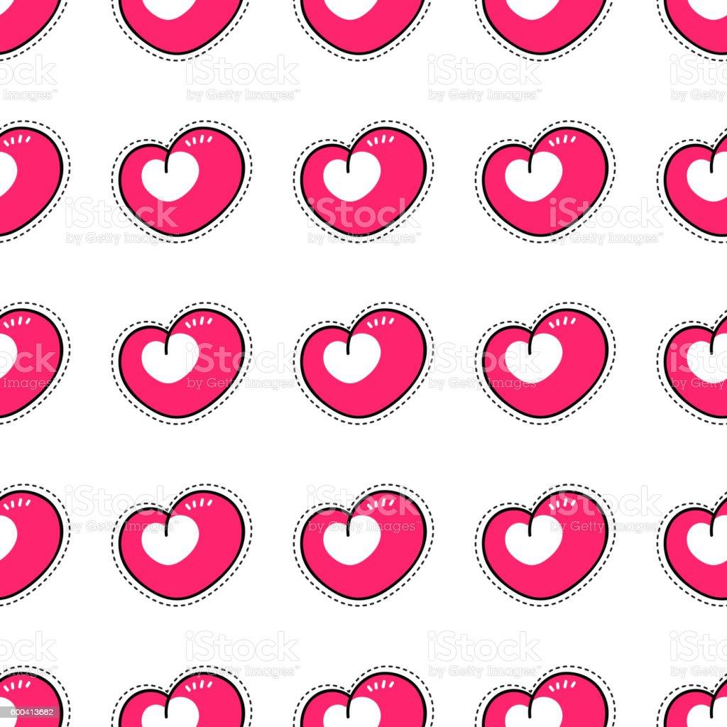 Decor Heart Shape Symbol Tile Wallpaper Decor Hearts Red Pattern In Retro Style