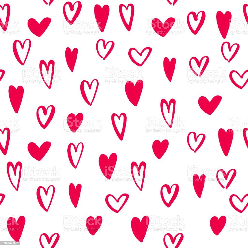 Hearts seamless pattern Valentine day vector art icons vector art illustration
