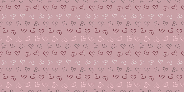Hearts seamless repeat pattern vector background.
