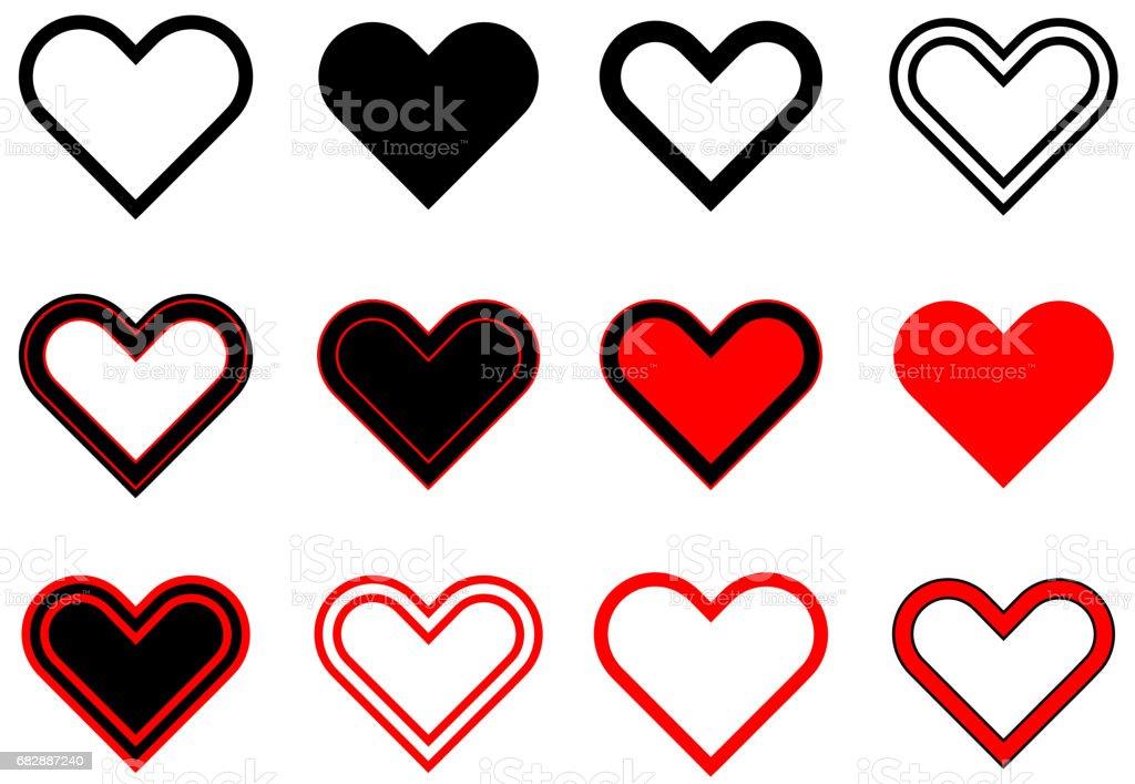 Herz-Set, Valentine Herzen, Lizenzfreies herzset valentine herzen stock vektor art und mehr bilder von abstrakt