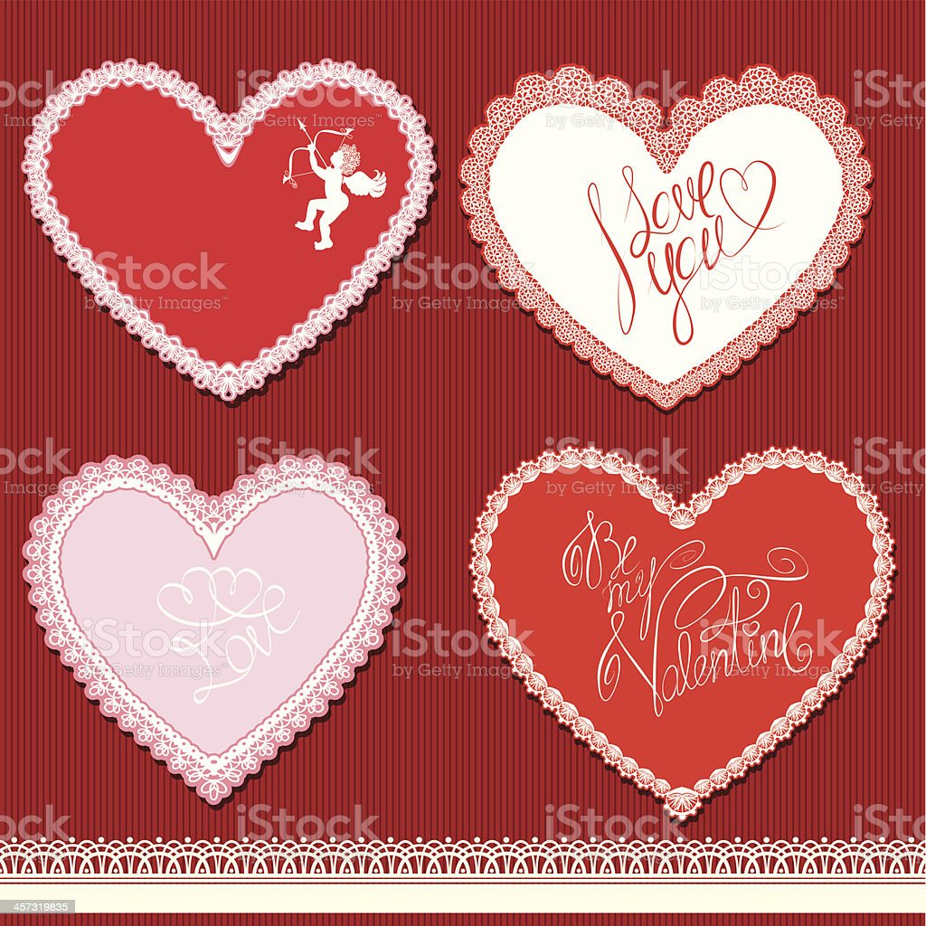 hearts shape are made of lace. Valentines Day, wedding design vector art illustration