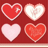 hearts shape are made of lace. Valentines Day, wedding design