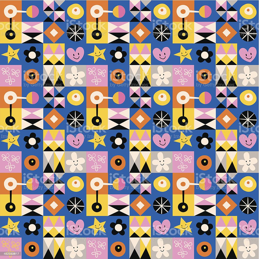 hearts, stars and flowers abstract art retro pattern royalty-free stock vector art