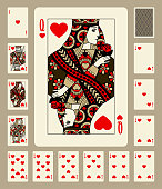 Playing cards of Hearts suit in vintage style. Original design. Vector illustration