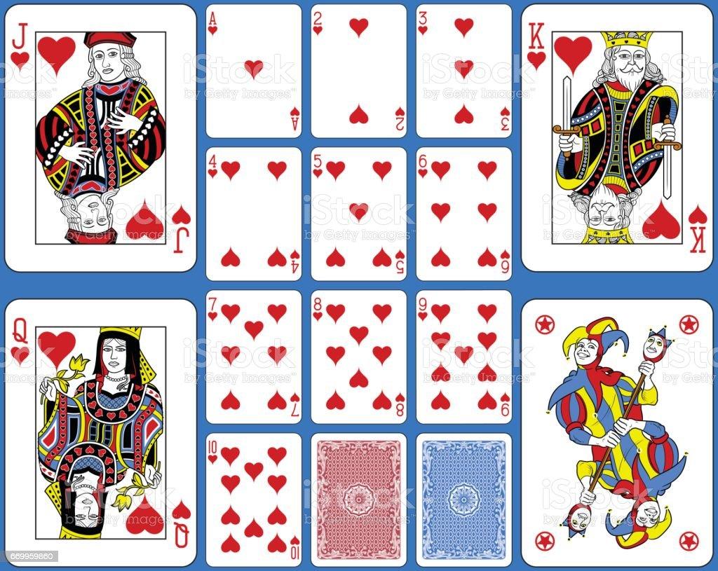 Suite de corações jogando cartas estilo francês - ilustração de arte em vetor