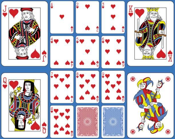 herzen-suite spielkarten französischem - kartenspielen stock-grafiken, -clipart, -cartoons und -symbole