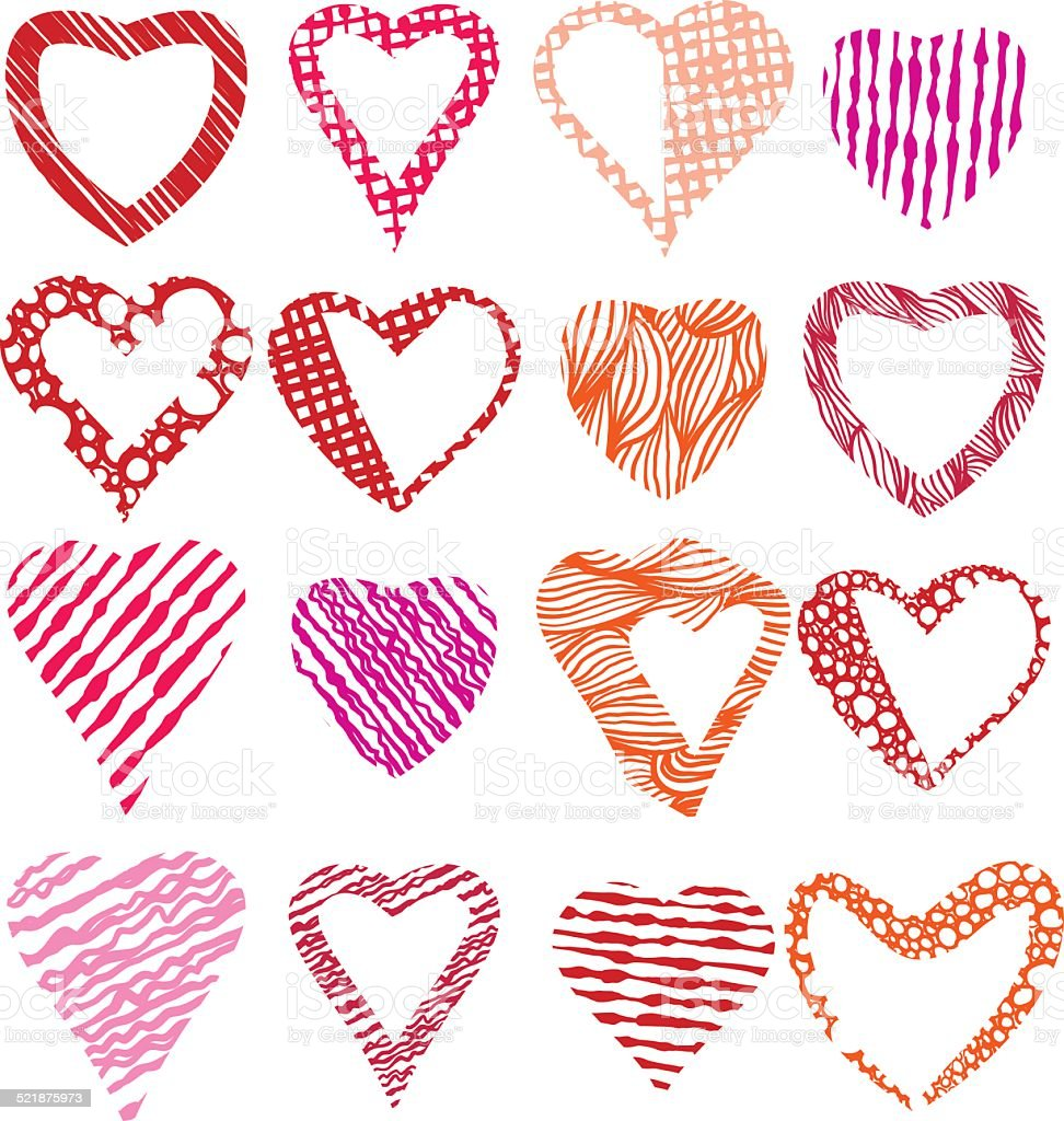 Hearts Symbols Vector Set Different Shapes And Textures Vector Stock