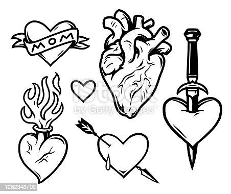 istock Hearts tattoos vintage monochrome composition 1282343702