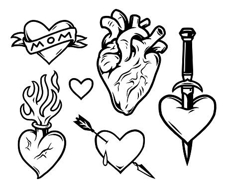 Hearts tattoos vintage monochrome composition