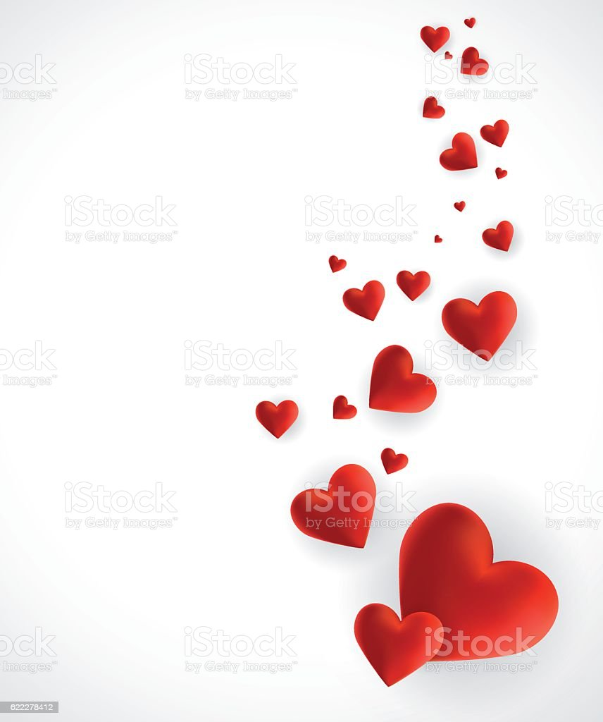 Hearts - Valentine's Day background vector art illustration