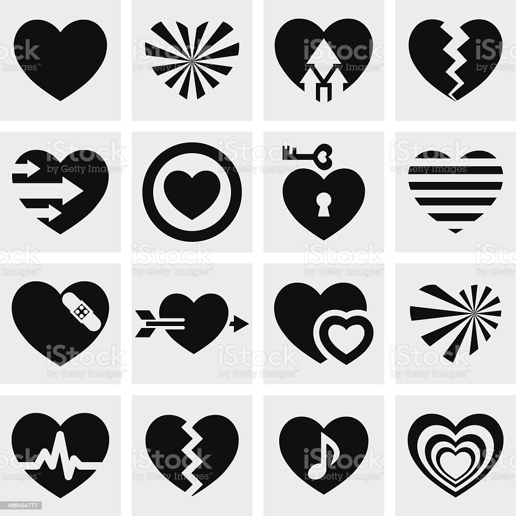 Hearts vector icons set on gray. Love signs. vector art illustration