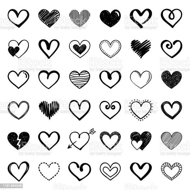 Herzen Stock Vektor Art und mehr Bilder von Bleistiftzeichnung