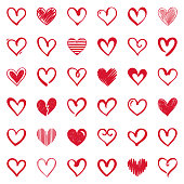 Set of hand drawn hearts. Vector design elements isolated on white background.