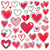 Set of hand drawn vector hearts. Doodle design elements isolated on white background.