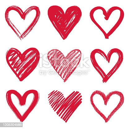 Set of hand drawn red hearts. Vector design elements isolated on white background.