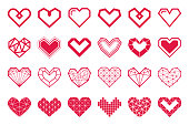 Geometric vector hearts icons. Different variations and shapes.