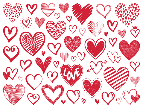 Set of hand drawn vector hearts. Design elements isolated on white background.