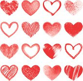 Grunge hearts, set of different variations
