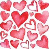 Set of watercolor hearts.