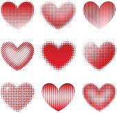 Vector illustration. Set of 9 halftone hearts.