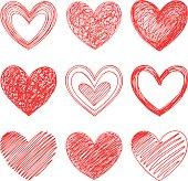 Nine hand drawn hearts.