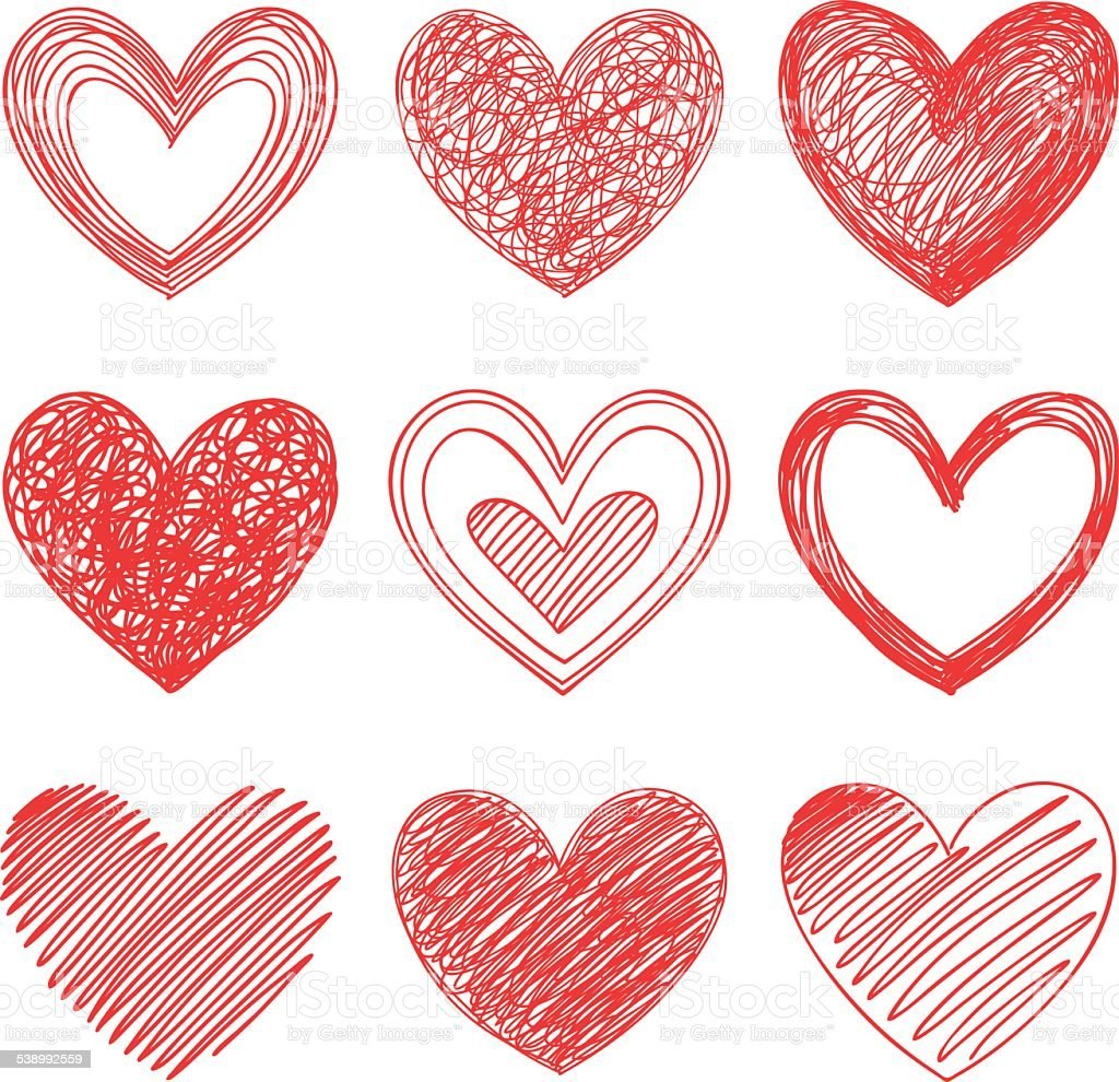 Hearts vector art illustration