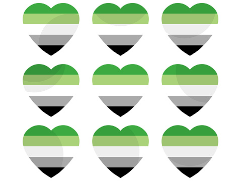 Hearts with Aromantic flag, icon set. Aromantic pride day. LGBT sexual minorities. Collection of icons of hearts isolated on white background for banner and  poster. Vector illustration