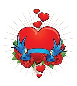 Vector illustration of hearts with birds, roses and ribbon. Classic tattoo style picture.