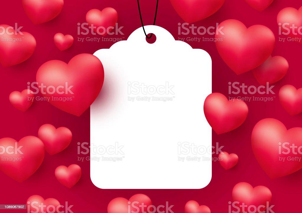 Herzen mit leeren weißen tag auf rotem Grund für Muttertag/Valentinstag Frauen- und Hochzeit Vektor-Illustration – Vektorgrafik