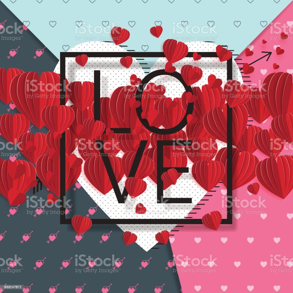 Hearts With Paper Art Style Concept Background Royalty Free Hearts With Paper Art Style