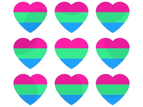 Hearts with polysexual flag, icon set. Polysexual pride day. LGBT sexual minorities. Collection of icons of hearts isolated on white background for banner and  poster. Vector illustration