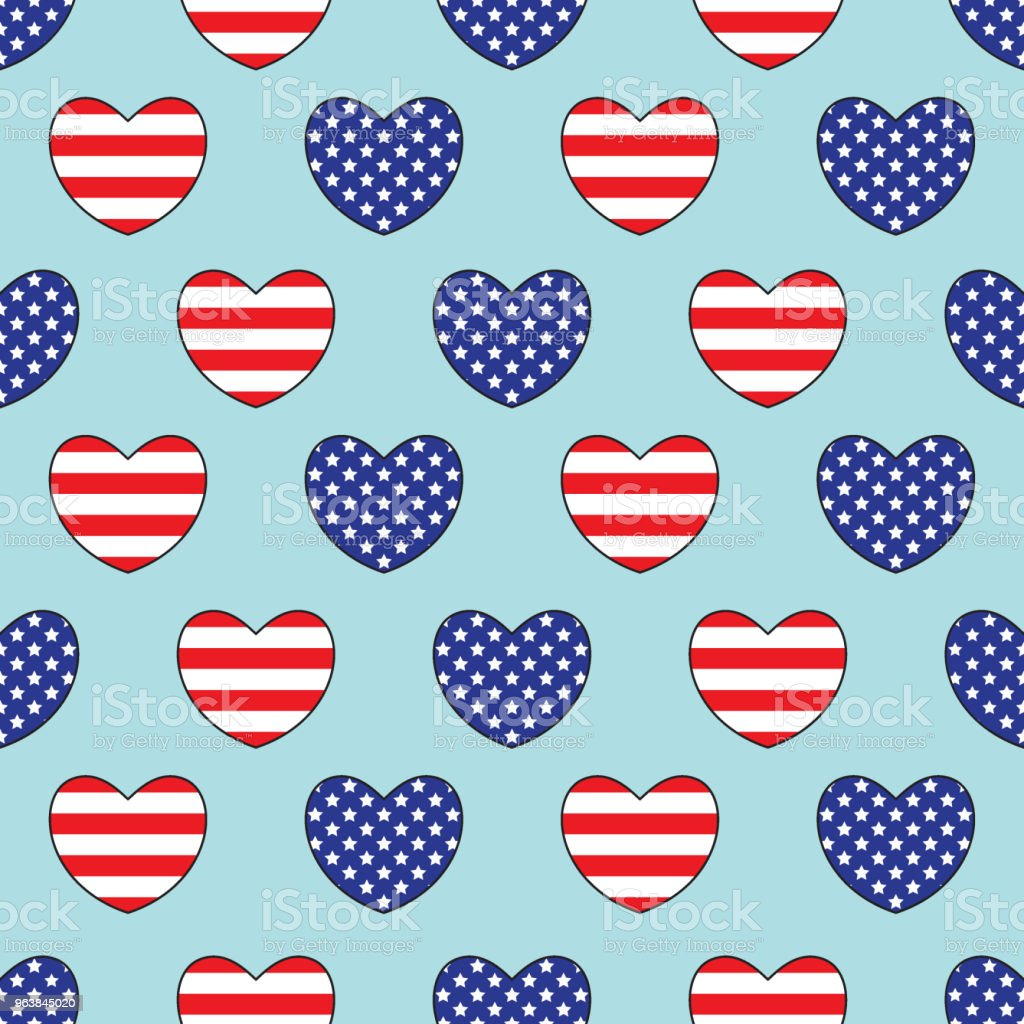 Hearts with the United States flag's colors. Seamless pattern. - Royalty-free Abstract stock vector