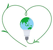 Heart-shaped and connected global light bulb