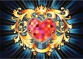 design element - heart with retro scrolls, vector artwork
